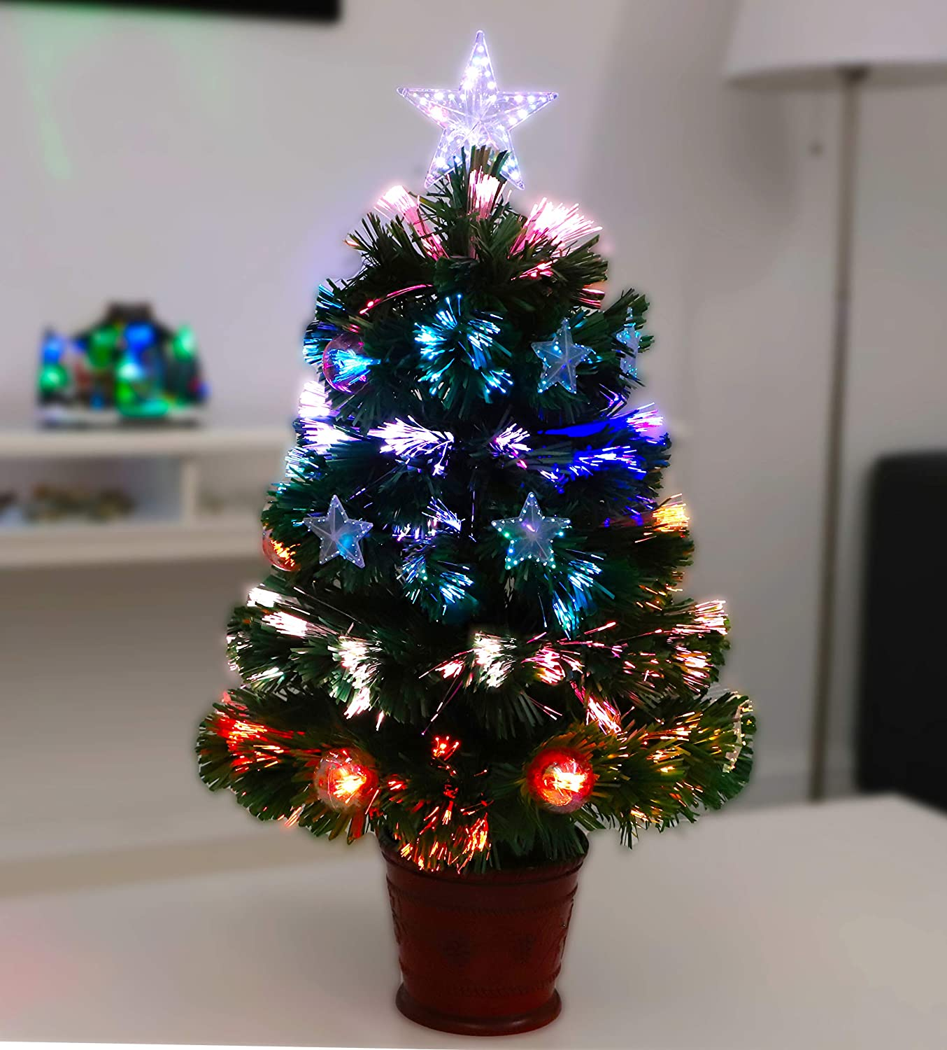 Christmas Concepts 2ft 60cm Green Fibre Optic Christmas Tree With Stars And Baubles And Red Base Amazon Co Uk Kitchen Home