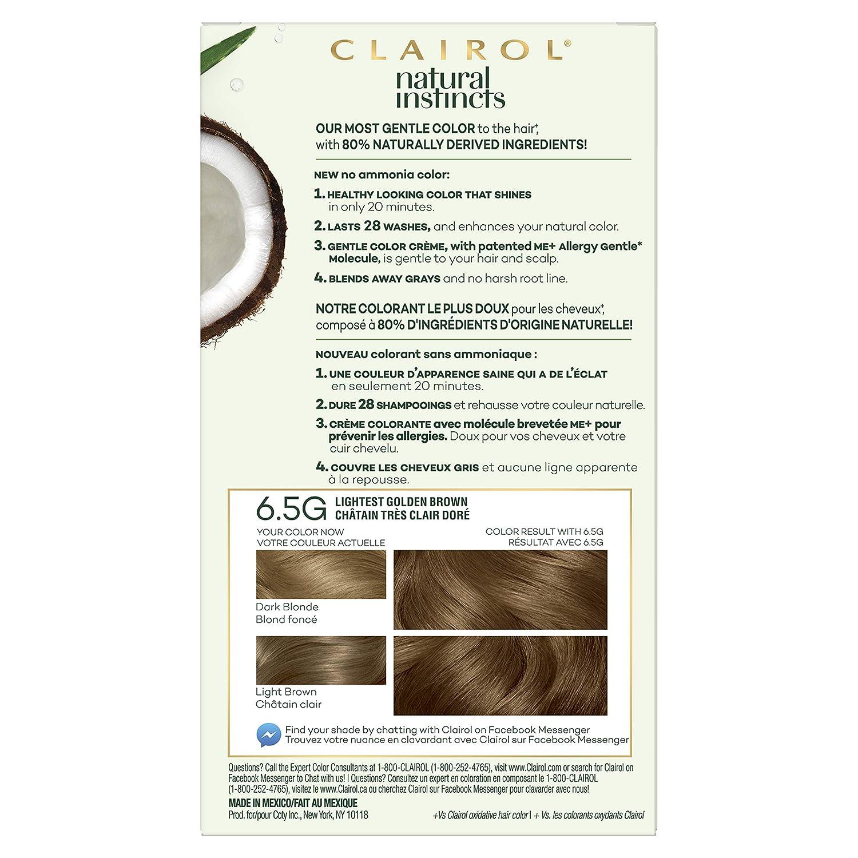 Clairol Natural Instincts, 6 5G Lightest Golden Brown, Amber Shimmer, 3  Count