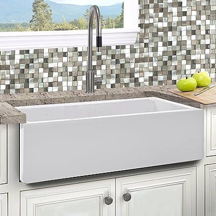 Italian Fireclay 33-inch Reversible Farmhouse Kitchen Sink ...