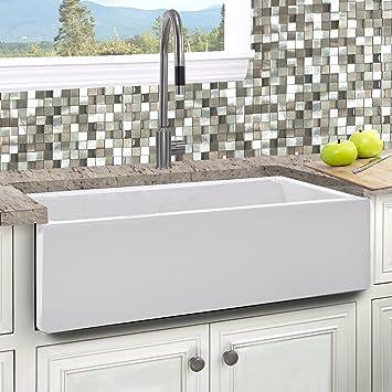 italian fireclay 33 inch reversible farmhouse kitchen sink - Farmhouse Kitchen Sink