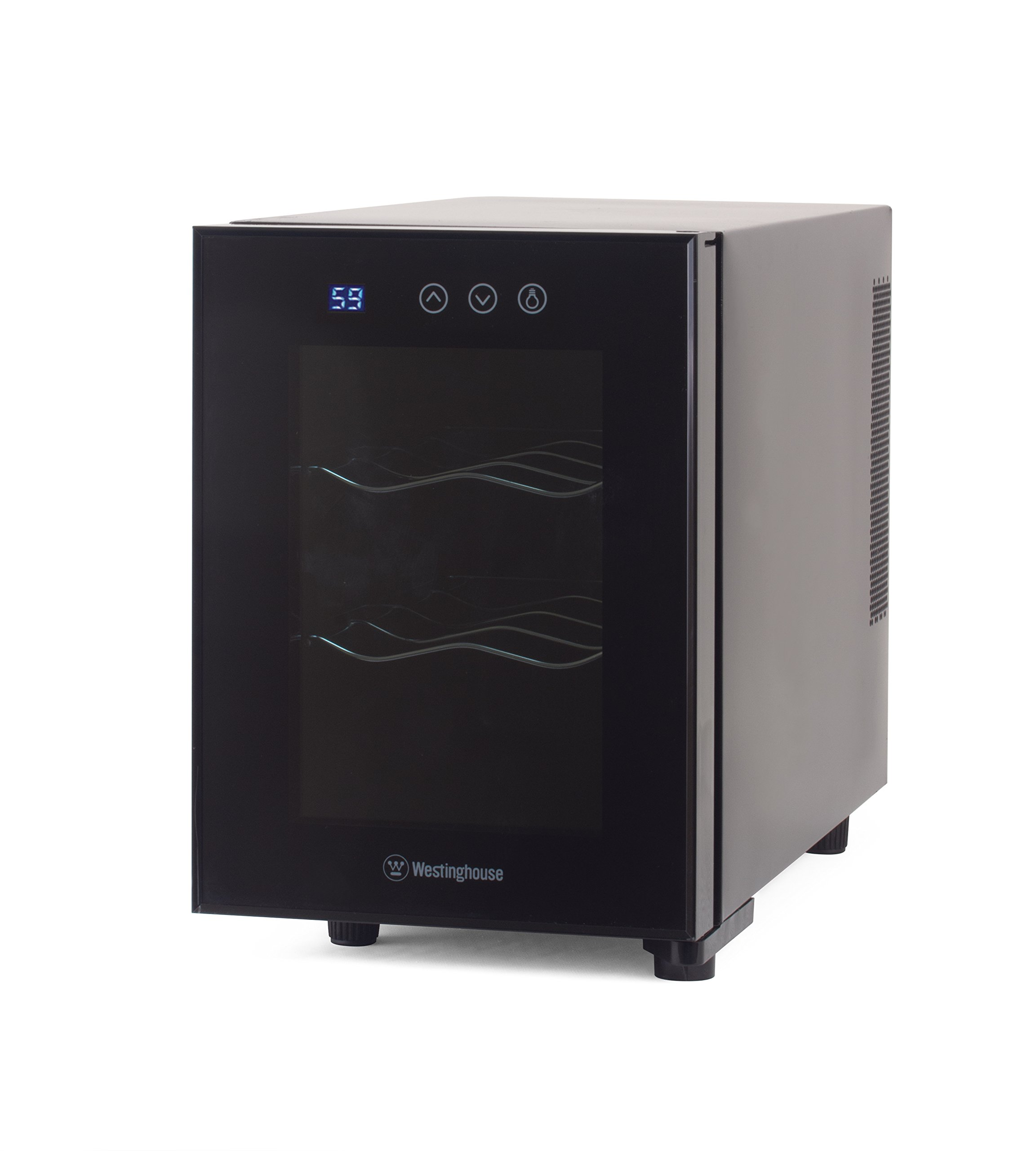 Westinghouse WWT060TB Thermal Electric 6 Bottle Wine Cellar with Touch Panel Adjustable Thermostat and Digital Read Out, Black by Westinghouse