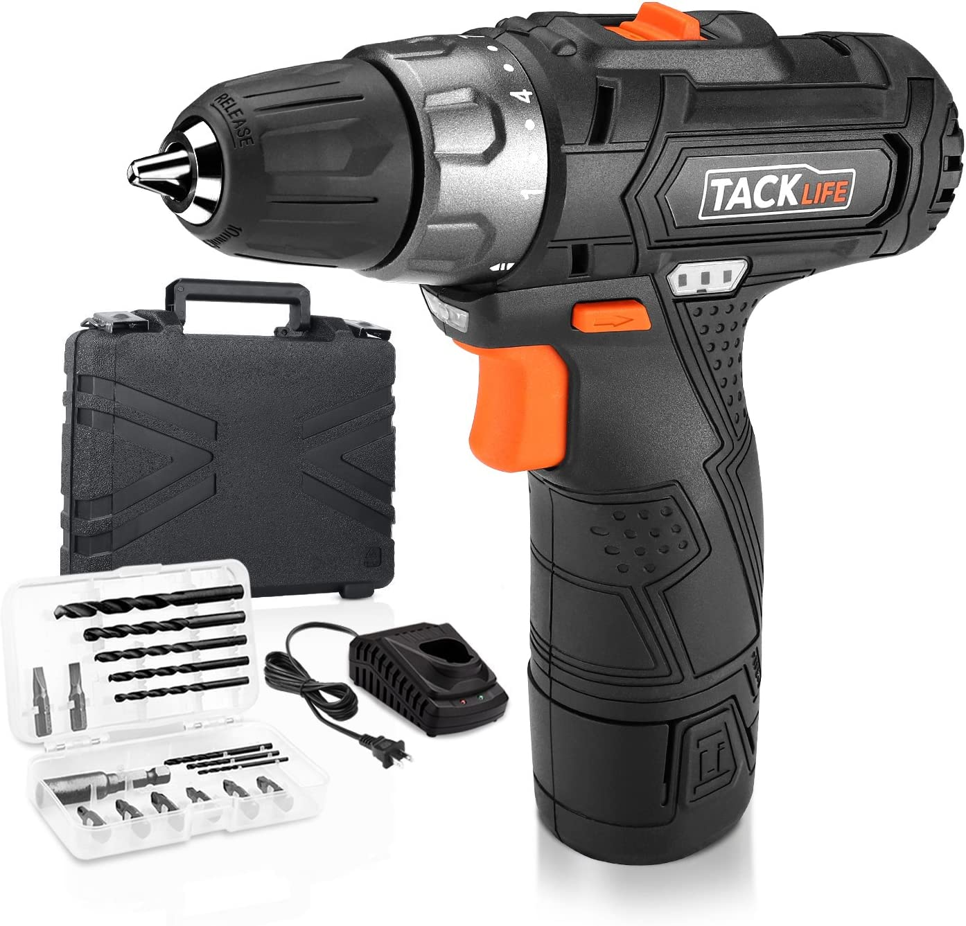 Tacklife PCD02B 12V Lithium-Ion Cordless Drill Driver 3 8-Inch Chuck Max Torque 220 In-lbs, 2 Speed, 1 Hour Fast Charger, 19 1 Position with LED, 17pcs Drill Driver Bits Included, Black