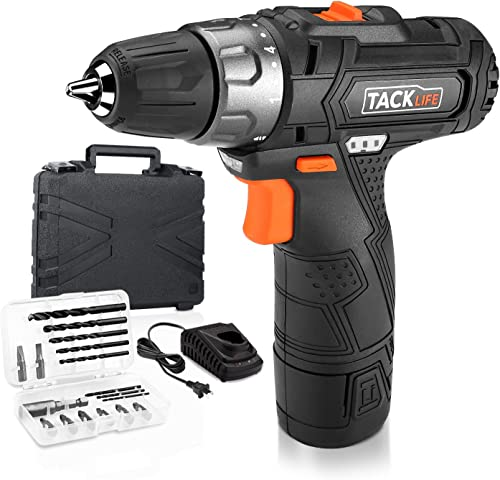 Tacklife PCD02B 12V Lithium-Ion Cordless Drill Driver 3 8-Inch Chuck Max Torque 220 In-lbs, 2 Speed, 1 Hour Fast Charger, 19 1 Position with LED, 17pcs Drill Driver Bits Included