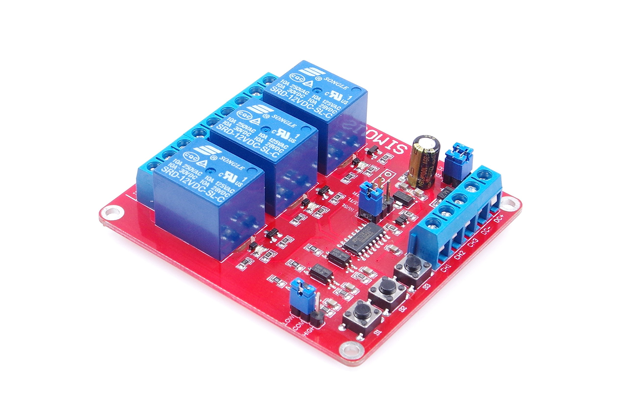 LM YN 3-Channel Relay Control Module Interlock Self-lock Trigger 3 in 1 Relay Module High - Low Level Trigger With Indicators for Household Appliances Control , PLC Industrial Control , Arduino (12V)