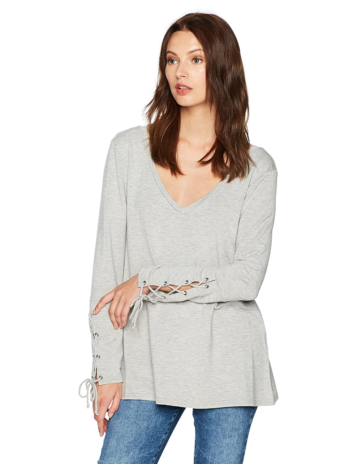 cupcakes and cashmere Womens Lenita Long Sleeve Lace Up Top