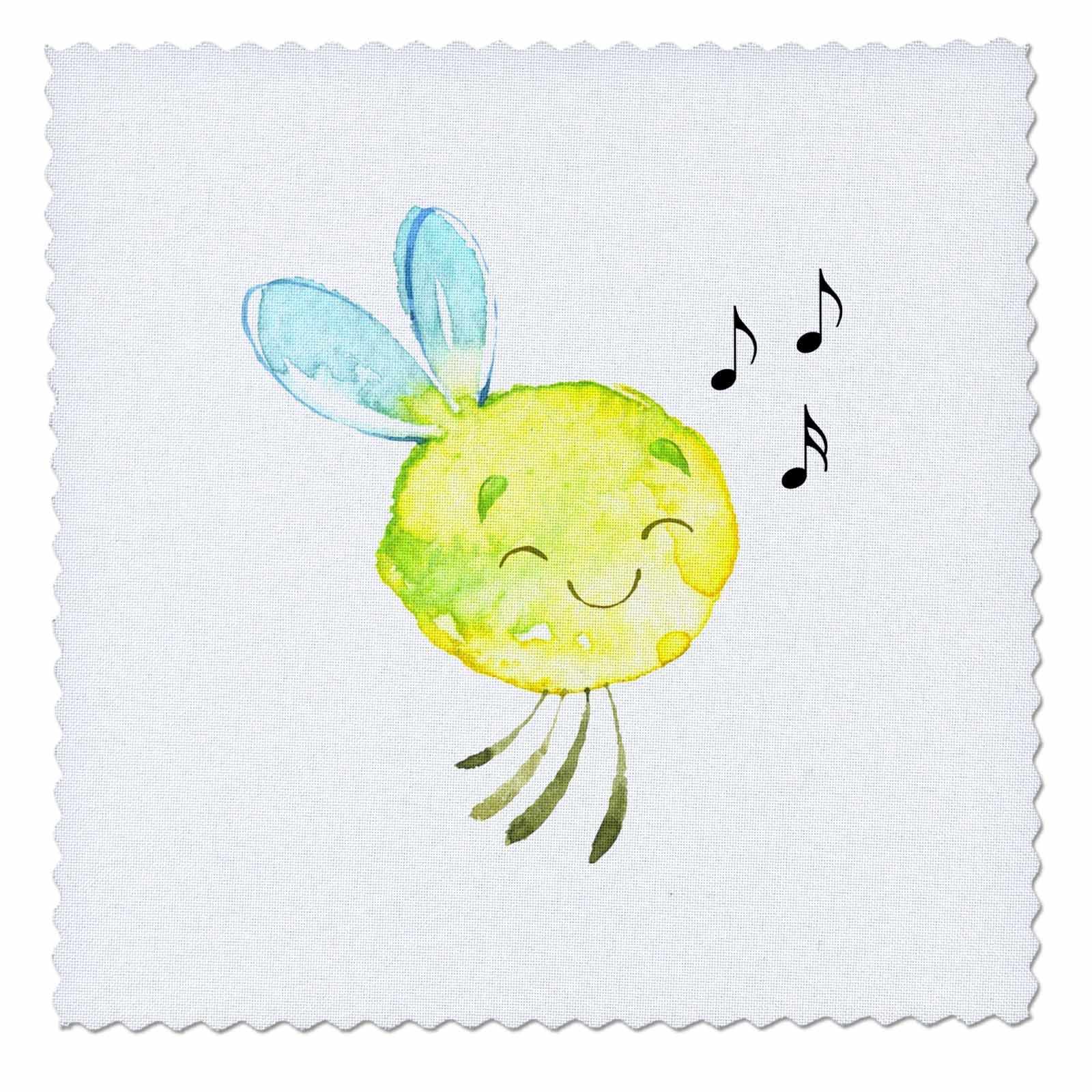 3dRose TNMGraphics Animals - Happy Singing Little Cartoon Circular Yellow Bug With Wings - 22x22 inch quilt square (qs_280631_9)