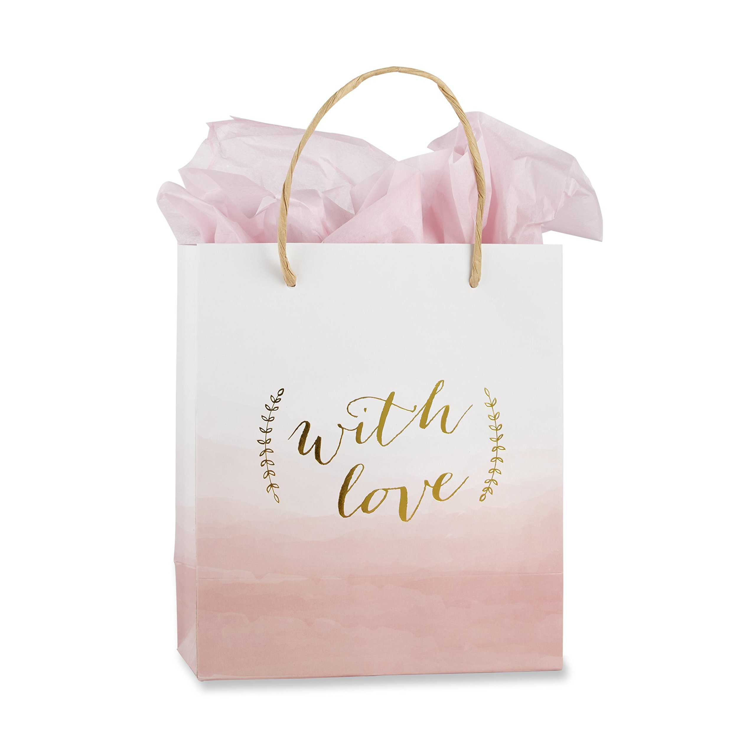 Kate Aspen with Love Pink Watercolor Gift Bag (Set of 12), Pink, White and Gold