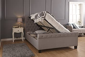 Swell Layla Silver Hopsack Fabric Gas Lift Ottoman Storage Bed 4Ft6 Double Gamerscity Chair Design For Home Gamerscityorg