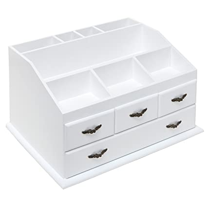 Amazoncom Shabby Chic White Wood 8 Trays 4 Storage Drawers Jewelry