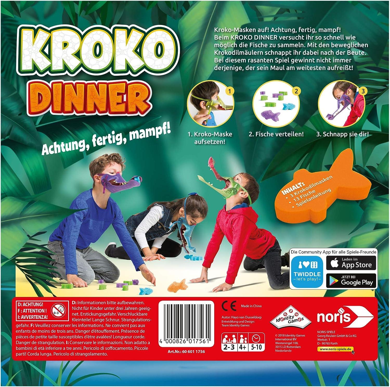 /à partir de 4 Ans Croko Dinner Le Jeu de f/ête et dadresse avec 3 Masques de Crocodile avec /élastique r/églable noris 606011756