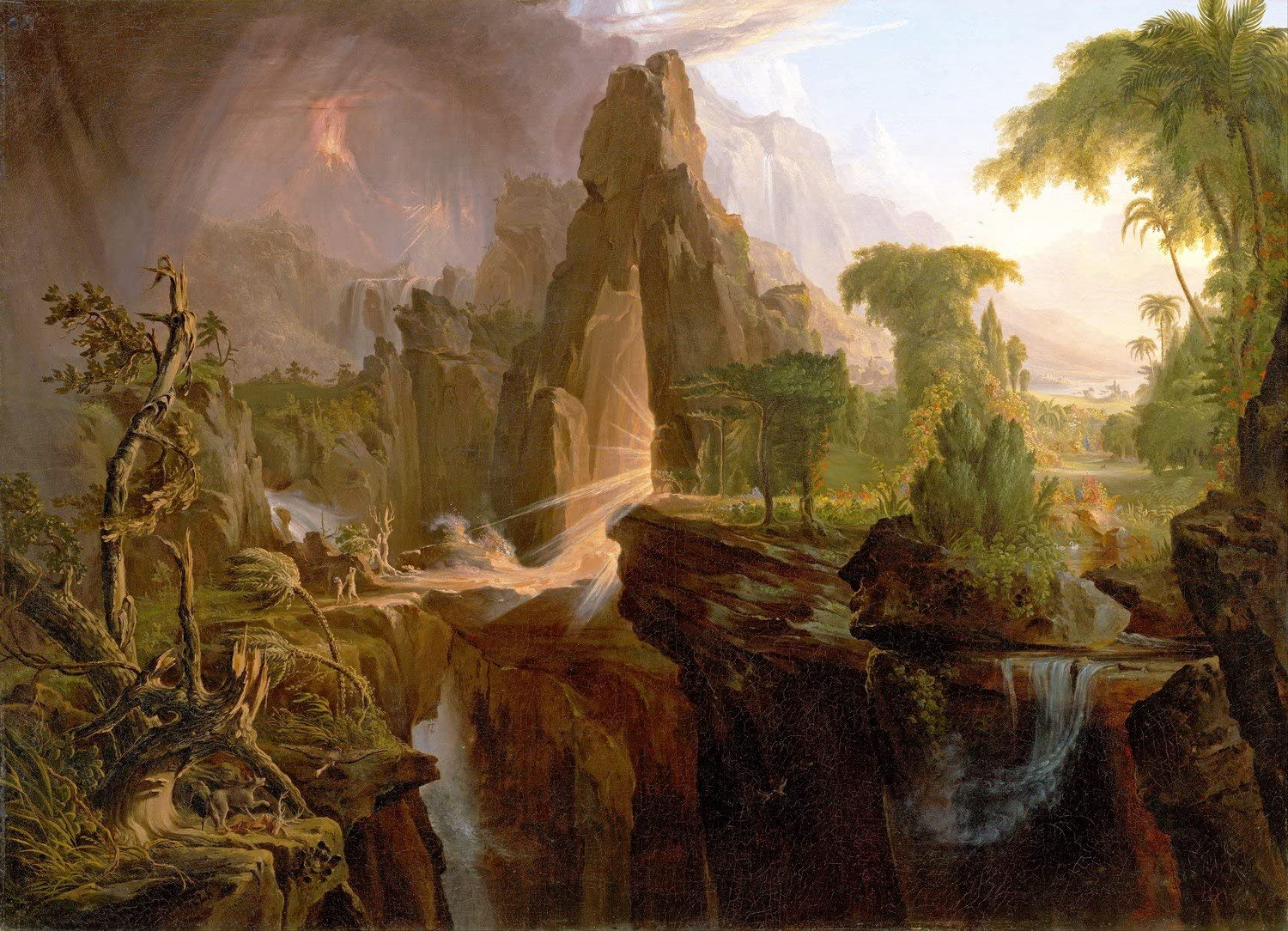 """Canvas Print Wall Art - Expulsion from The Garden of Eden - by Thomas Cole - 40"""" by 29"""""""