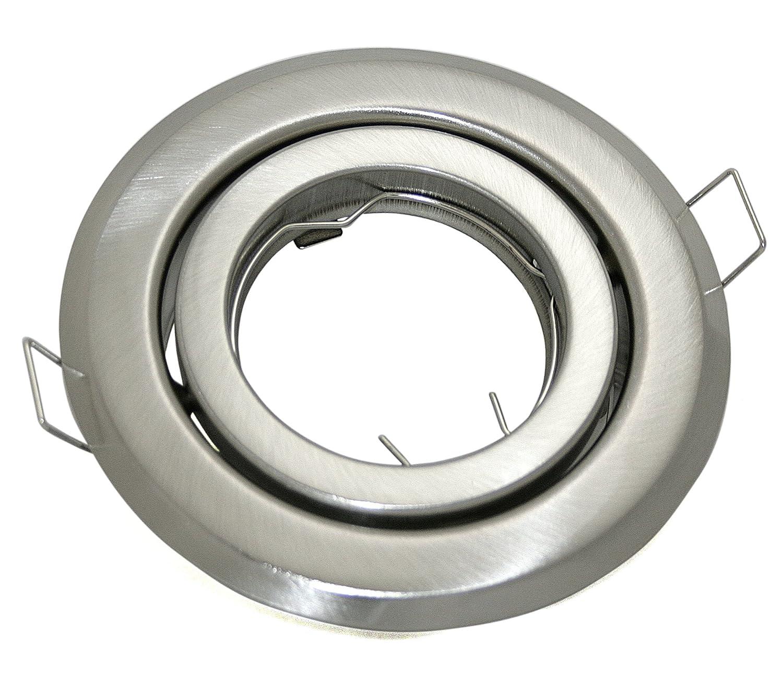 Einbaustrahler Start GU10 230V Farbe: Edelstahl gebürstet für LED Leuchtmittel 50mm Einbauleuchte Fassung Strahler Spot schwenkbar Stahl Nickel I-Lights24 Hausmarke