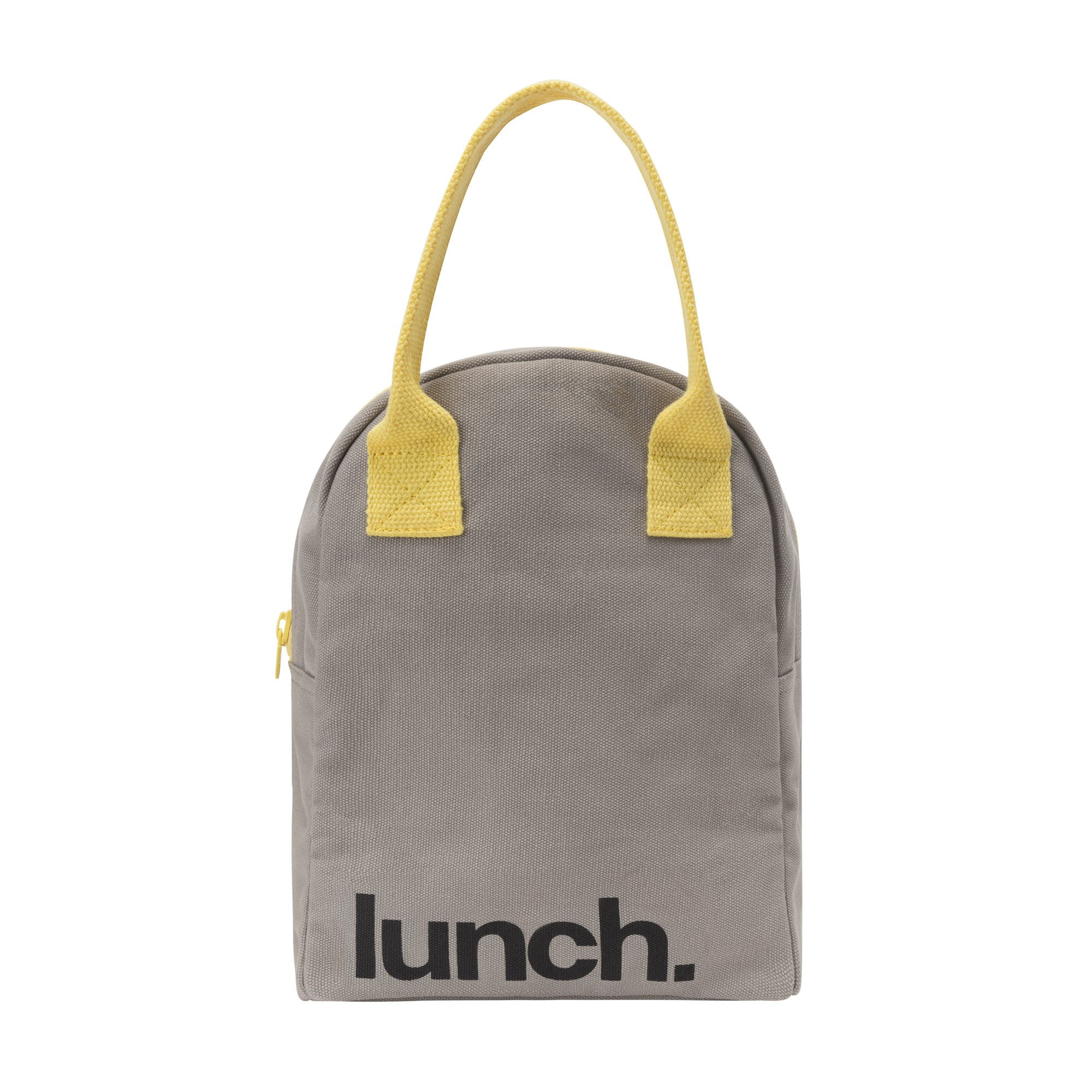 Fluf Reusable Canvas Lunch Bag | Lunch Box for Women, Men, Kids | Organic Cotton Meal Tote with Zipper | Grey 'Lunch'