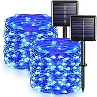 JMEXSUSS Solar Fairy Lights Outdoor Waterproof, 2 Pack Each 33ft 100 LED Solar String Lights, Blue Silver Wire Lights 8…