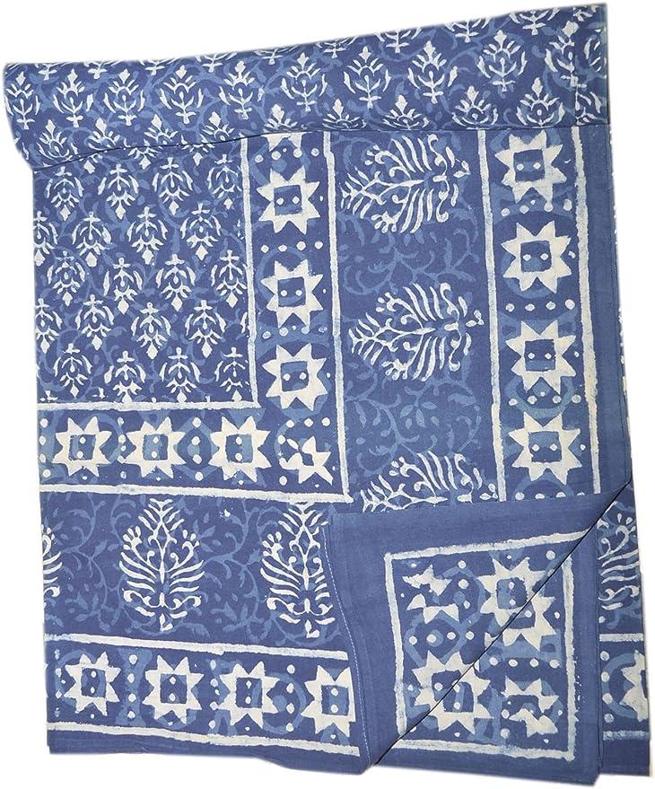 Juego de sábanas de algodón indigo de estilo shibori, hecho a mano, diseño de indio: Amazon.es: Hogar