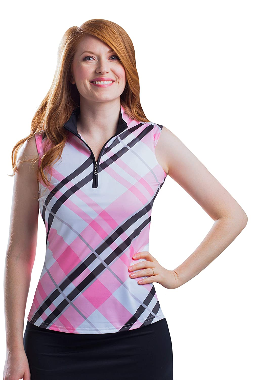 Highlands Pink San Soleil SolCool Printed Sleeveless Mock Neck UV 50 Shirt