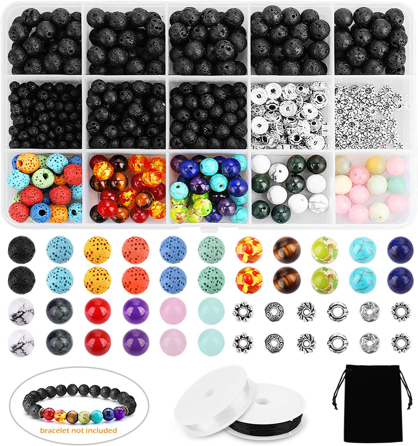 YBLNTEK 600 Pcs Chakra Beads Lava Beads Rock Stone Assorted Colored Volcanic Gemstone Beads Spacer Beads with 2 Beading Needles and 2 Roll Elastic Stretch String for Bracelet Jewelry Making