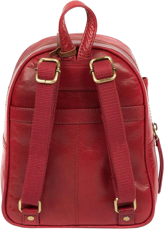 Conkca London Eloise B167 Sac à dos en cuir biodégradable avec fermeture Éclair pour femme, doublure 100 % coton et sangle réglable en toile Rouge