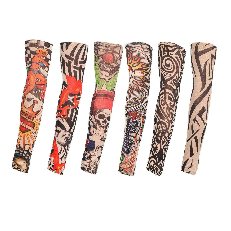 6 Pezzi Manicotti per Braccia in Nylon per Moda Manicotti per Sport allAria Aperta Traspiranti Soffici parapioggia per Asciugatura Rapida Manicotti Elastici Tagvo Manicotti Finti per Tatuaggi
