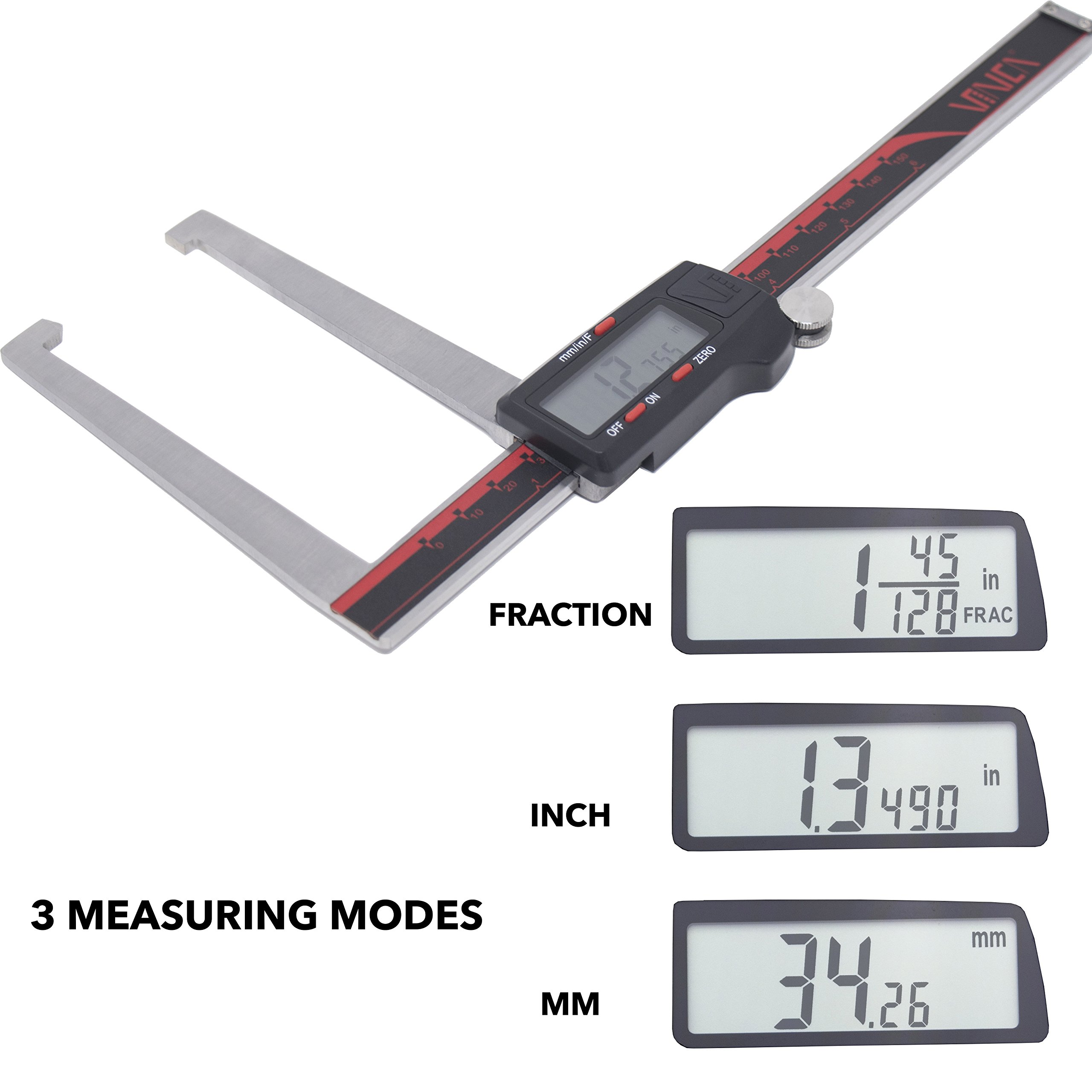 VINCA DRGA-0605 Quality Electronic Digital Break Rotor Gauge inch/Metric/Fractions Conversion 0-6 Inch/150 mm Stainless Steel Body Red/Black Extra Large LCD Screen Auto Off Featured Measuring Tool by VINCA (Image #1)