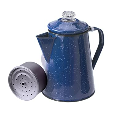 GSI Outdoors 12 Cup Enamelware Percolator in Blue for Campsite, Cabin, RV, Farmhouse Kitchen