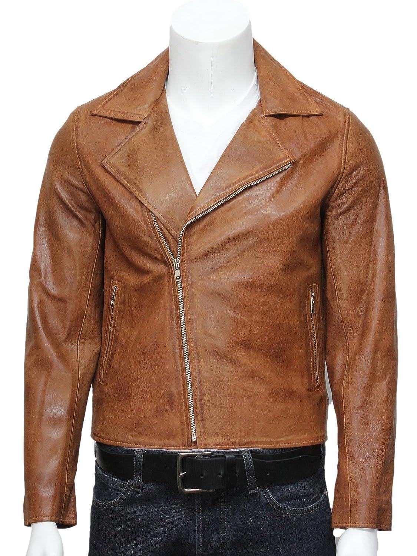 UK Vintage Mens Tan Stylish Brando Retro Leather Biker Jacket Designer Look  BNWT S-5XL: Amazon.co.uk: Clothing