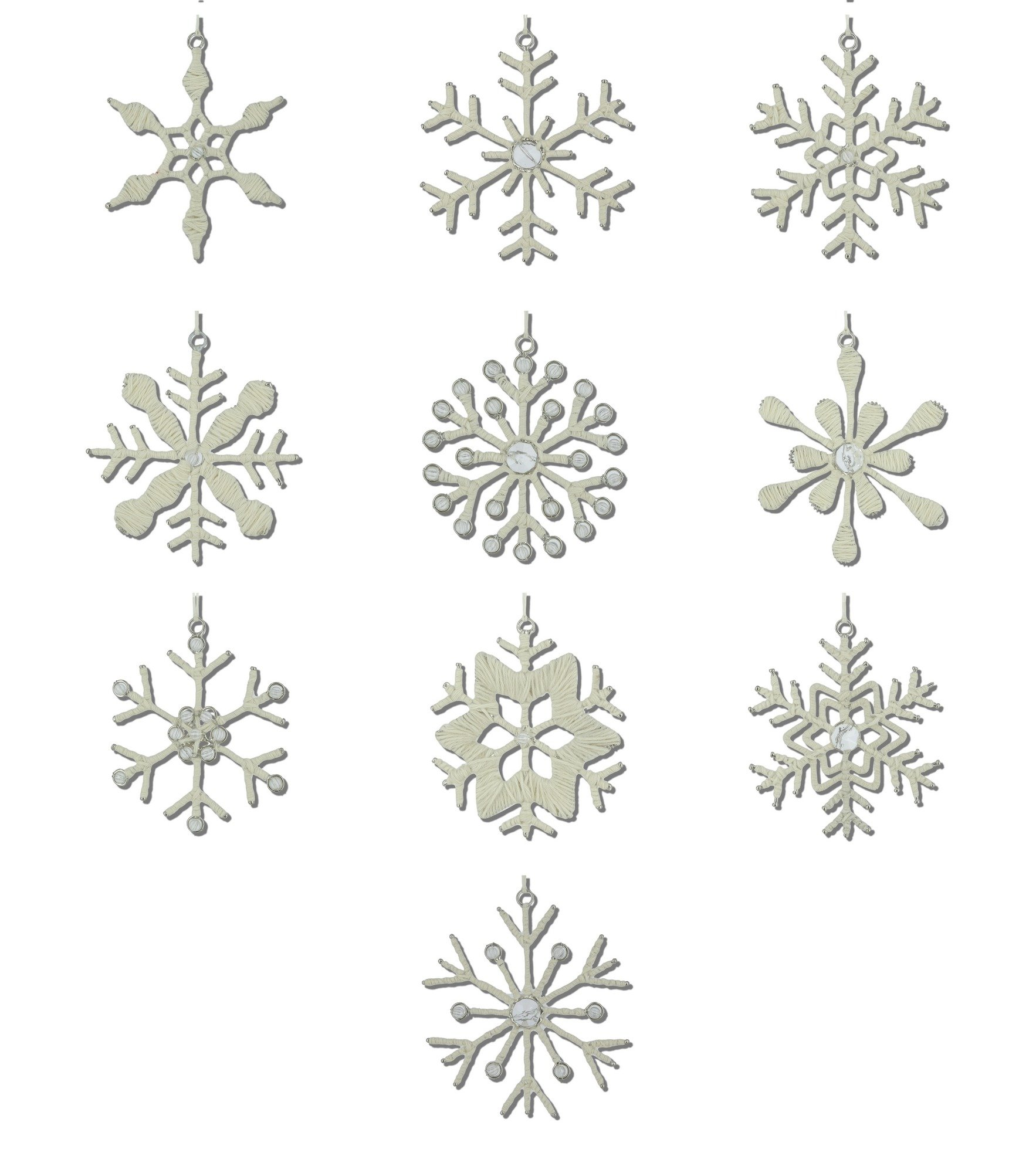 ShalinIndia Handmade Snowflake Ornaments Iron and Wool, 10 Different Light Weight Hanging Christmas Tree decorations,4 Inche