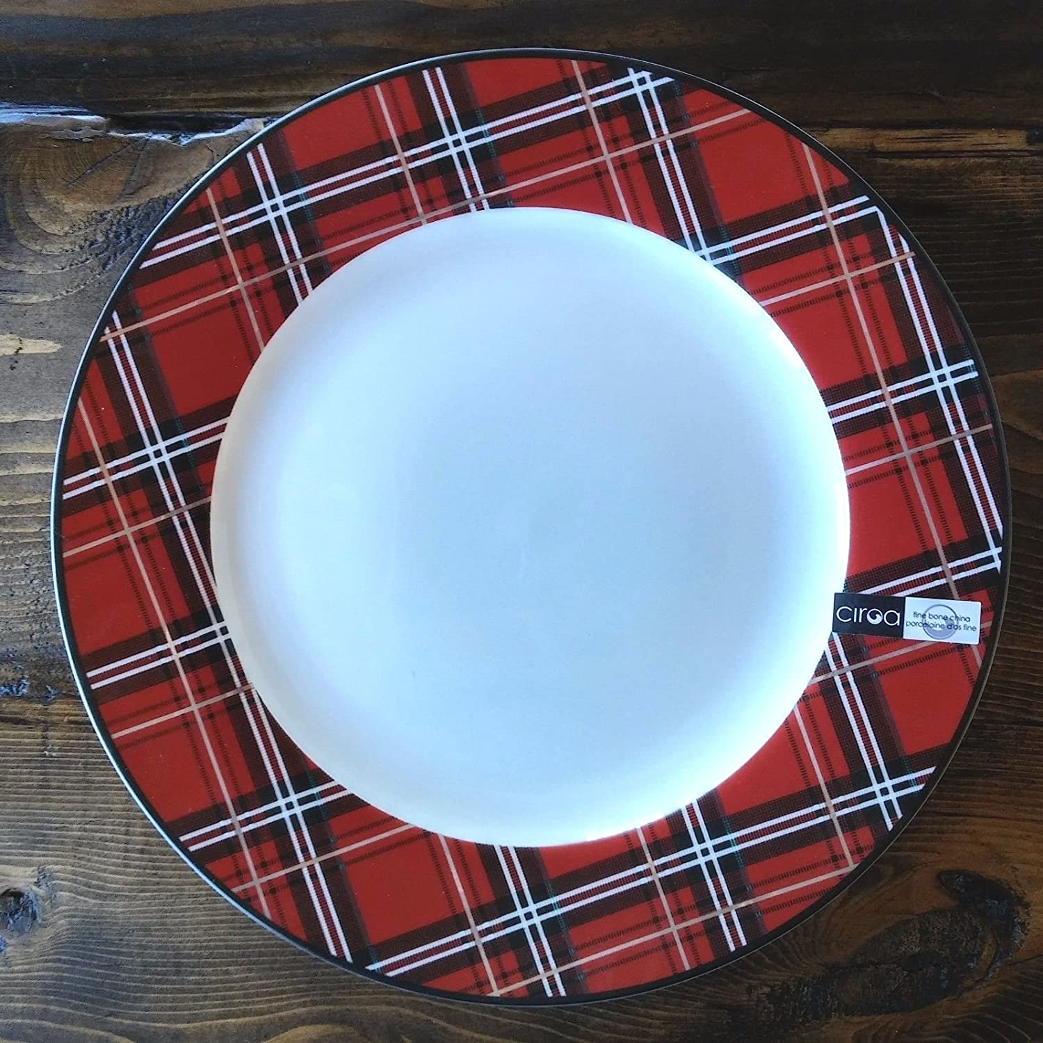 Amazon.com | Ciroa PLAID Red Tartan Christmas Salad / Accent 8  Plates Set of 4 Fine Bone China Porcelain Dinner Plates  sc 1 st  Amazon.com & Amazon.com | Ciroa PLAID Red Tartan Christmas Salad / Accent 8 ...
