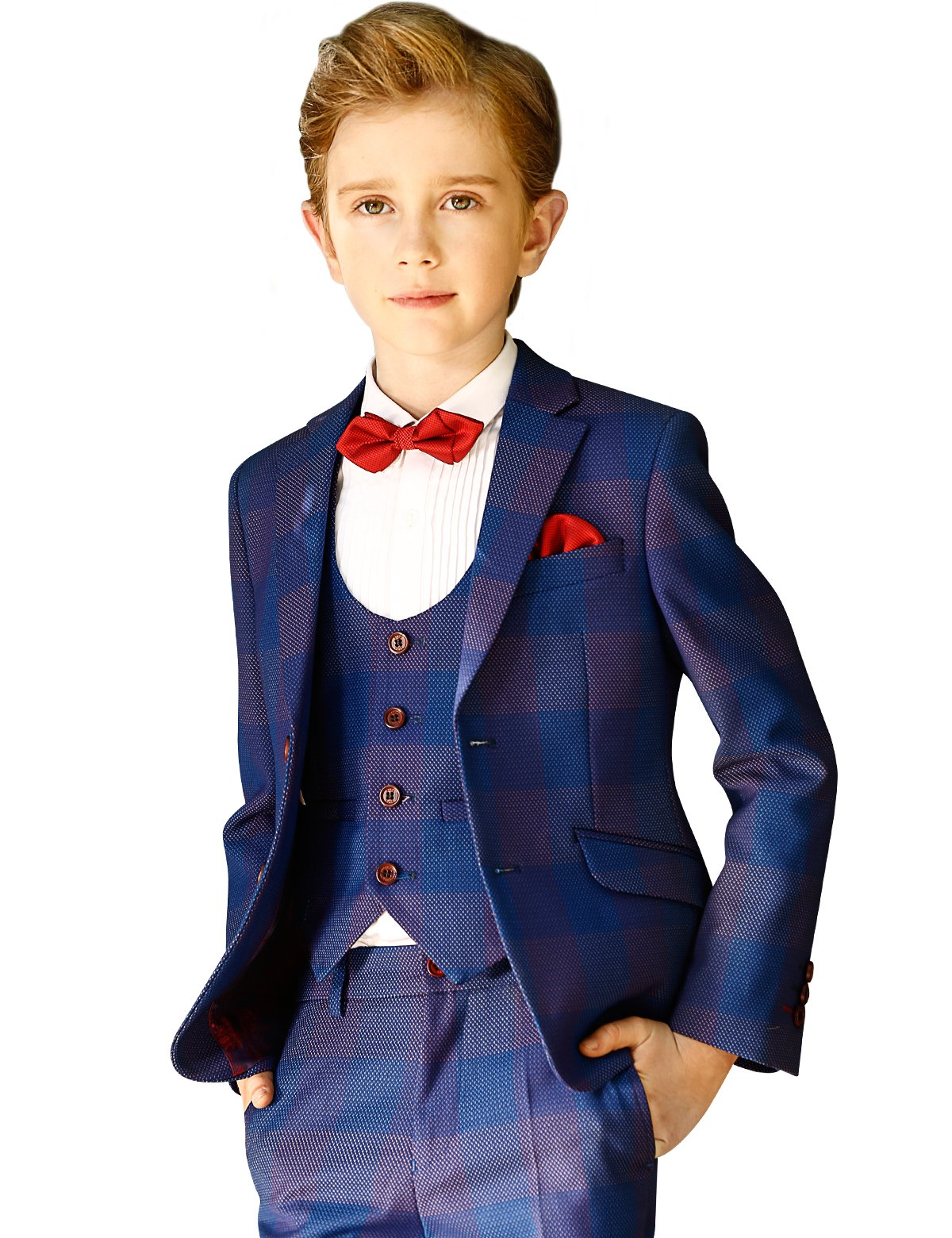 ELPA ELPA Children Boys Suits London Boys 6 Piece Casual Classic Plaid Suits(Royal Blue,10)
