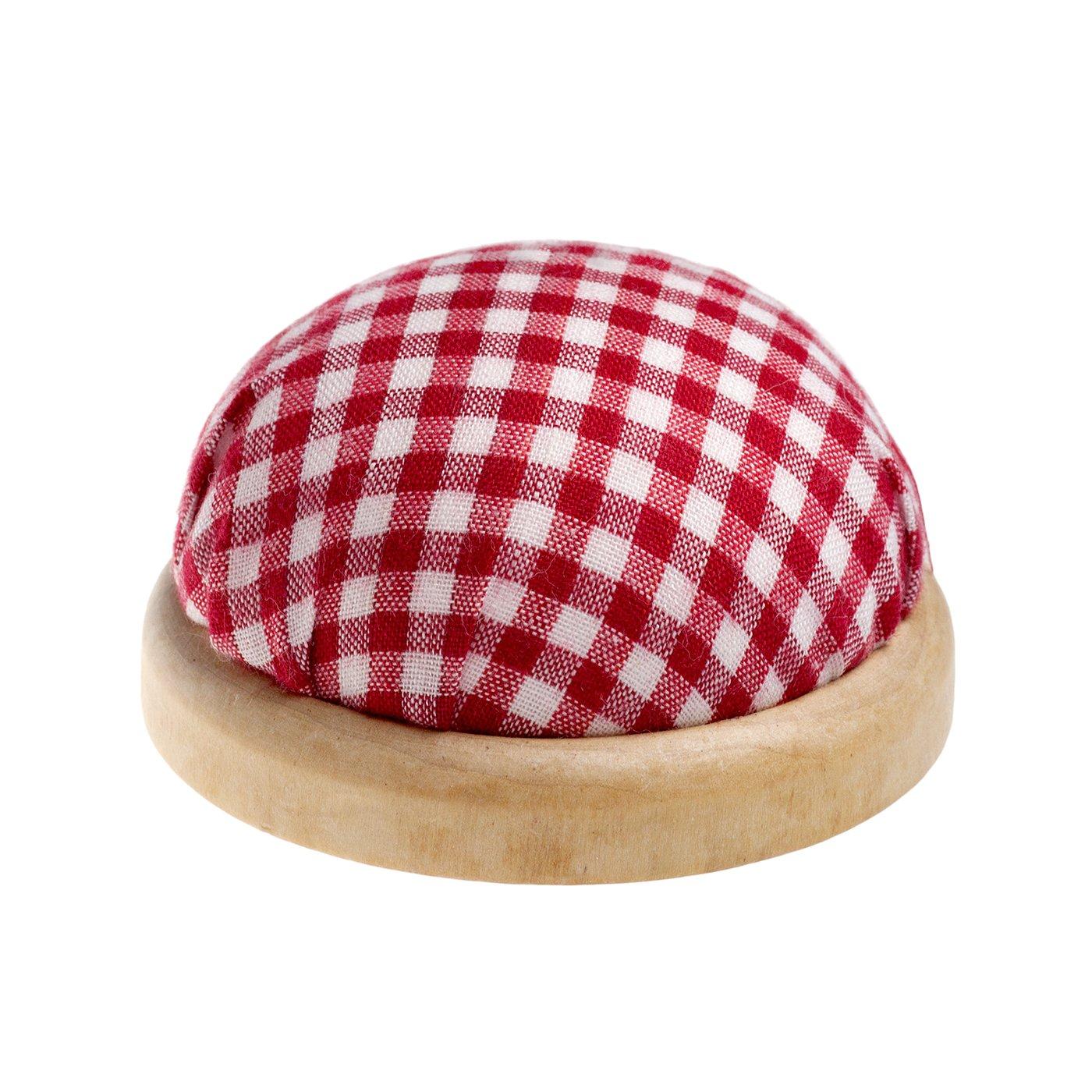 rundes Tisch - Nadelkissen mit Heller Holzumrandung, Farbe: rot & weiß (Kariertes Muster)
