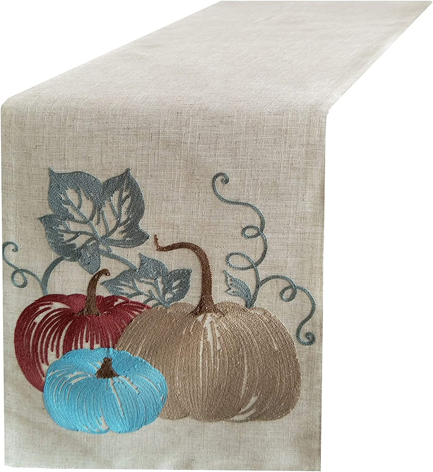 BETTINE Table Runner 72 inch,Swehome Halloween and Thanksgiving Holiday Table Runners,Fall Autumn Harvest Decorations,Linen Embroidered Pumpkins,14x72 Inches Long for Dining Coffee Table