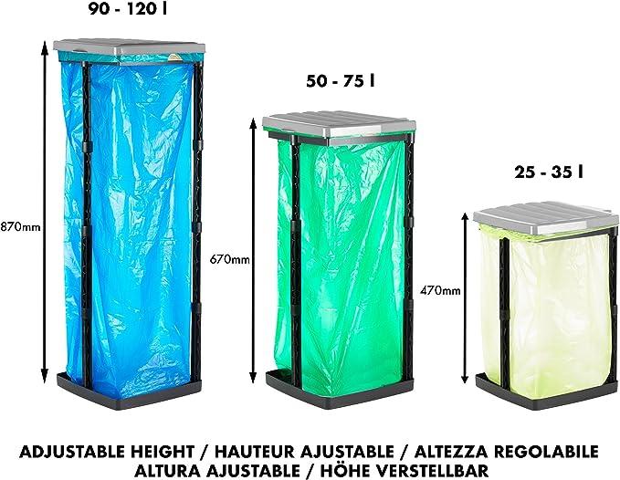Grizzly Sack Holders Blue lid Pack of 3 Adjustable 120L Refuse Bag Stands Foldable Camping Bin
