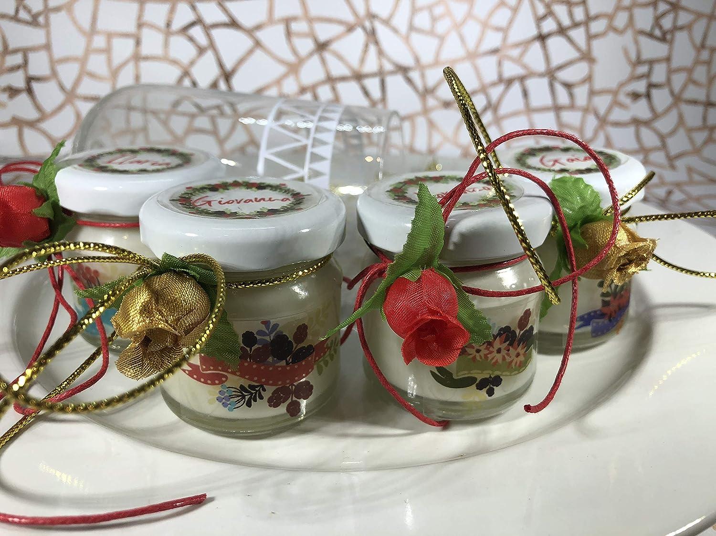 10 mini candele profumi speziati natalizi segnaposto natalizio in vasetto personalizzato Merry Christmas Decorazione tavola natalizia ricordo per gli ospiti regalo di natale motivi floreali countri shabby chic