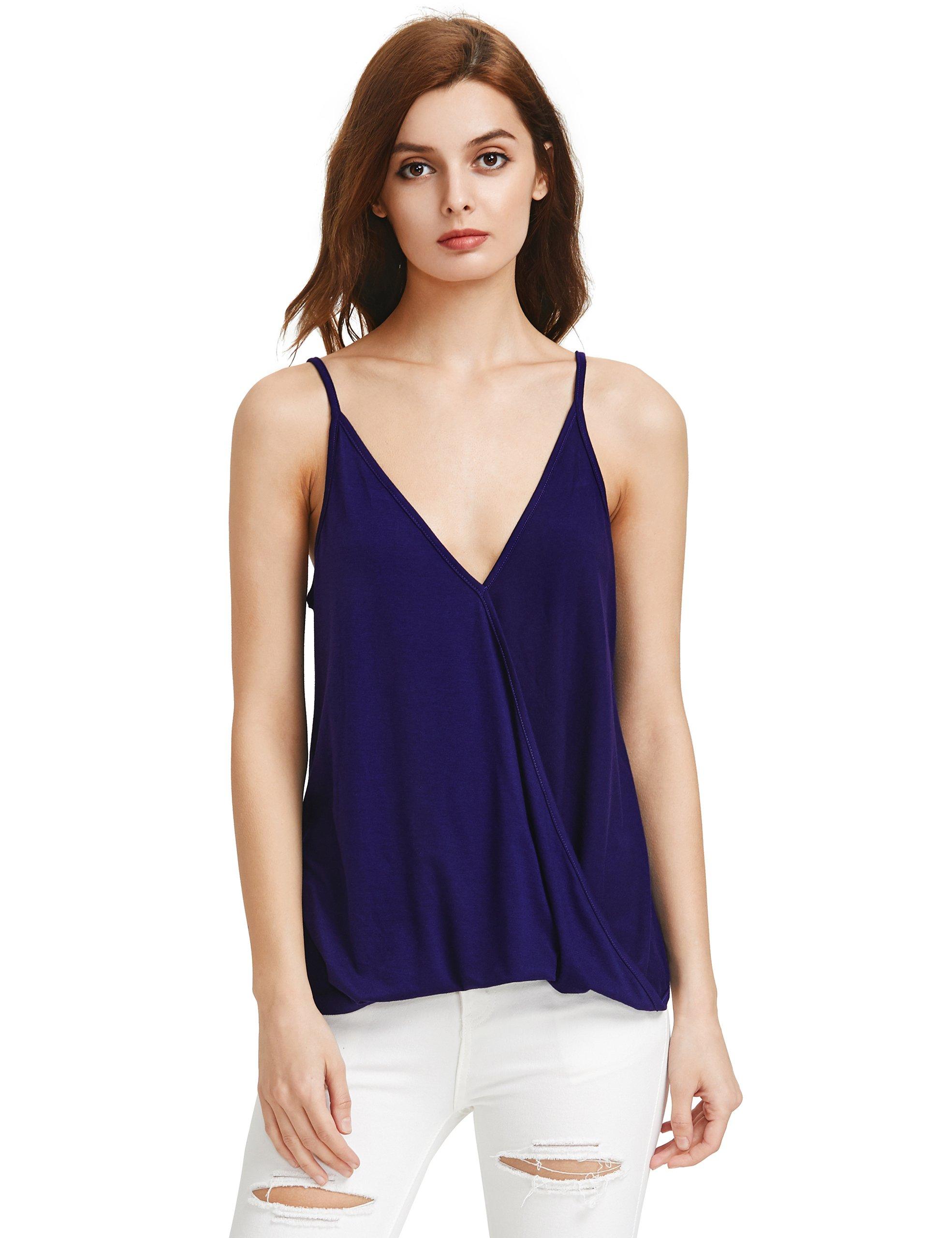 Romwe Women's V Neck Strappy Loose T-Shirt Tank Top Vest Blouses Blue M
