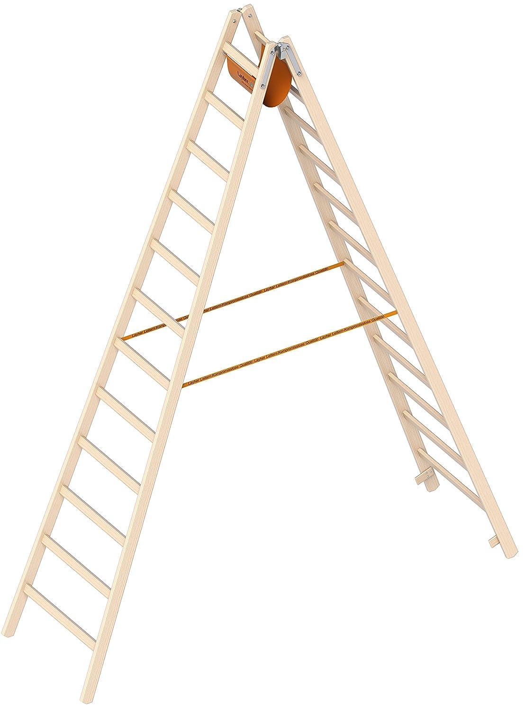 Layher Holzleiter Stehleiter nach /Ö-Norm 1053 12 Sprossen Arbeitsh/öhe 4,65 m