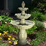 Sunnydaze Classic Tulip Three-Tier Fountain, Garden Stone Finish, with Electric Submersible Pump, 46 Inch Tall