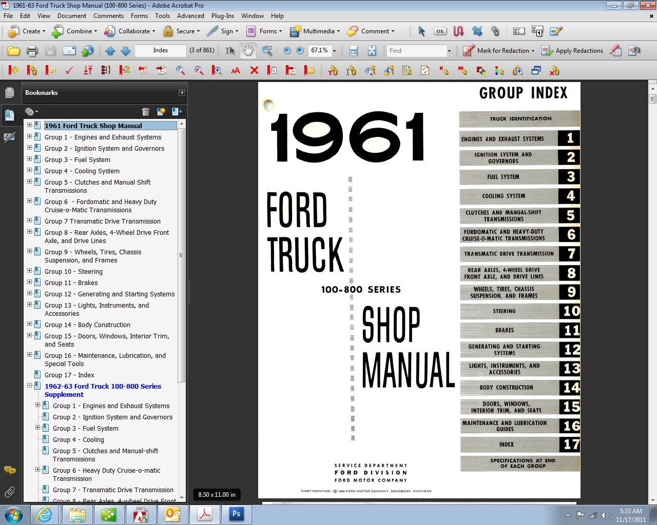 81F0k7FXSkL 1961 63 ford truck shop manual ford motor company, david e Ford Truck Wiring Diagrams at crackthecode.co