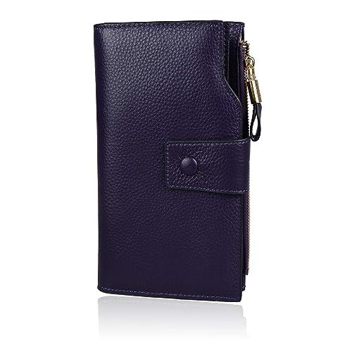 Befen Women's RFID Blocking Leather Clutch Wallet Multi Card Organizer Holder - Purple