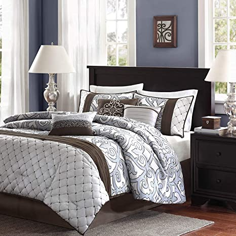 Amazoncom 7 Pc Brown Silver Blue Beautiful Comforter
