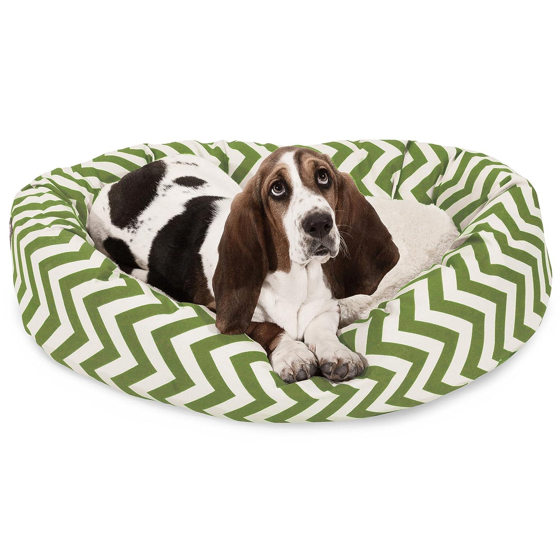 32 inch Sage Chevron Sherpa Bagel Dog Bed