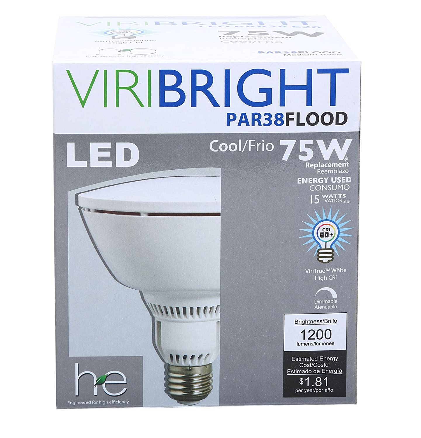 Viribright 750076 LED Light Bulbs 8, New Star Certified, Dimmable, Energy Saving, Low Cost, Super Value Pack, PAR38, Cool White - - Amazon.com