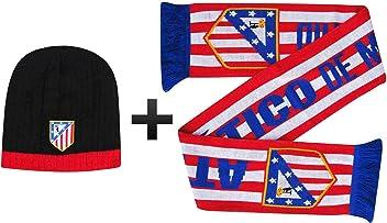 4b3e8e983409cd Atletico Madrid Soccer Crest Scarf & Beanie Hat Winter Warmers Set