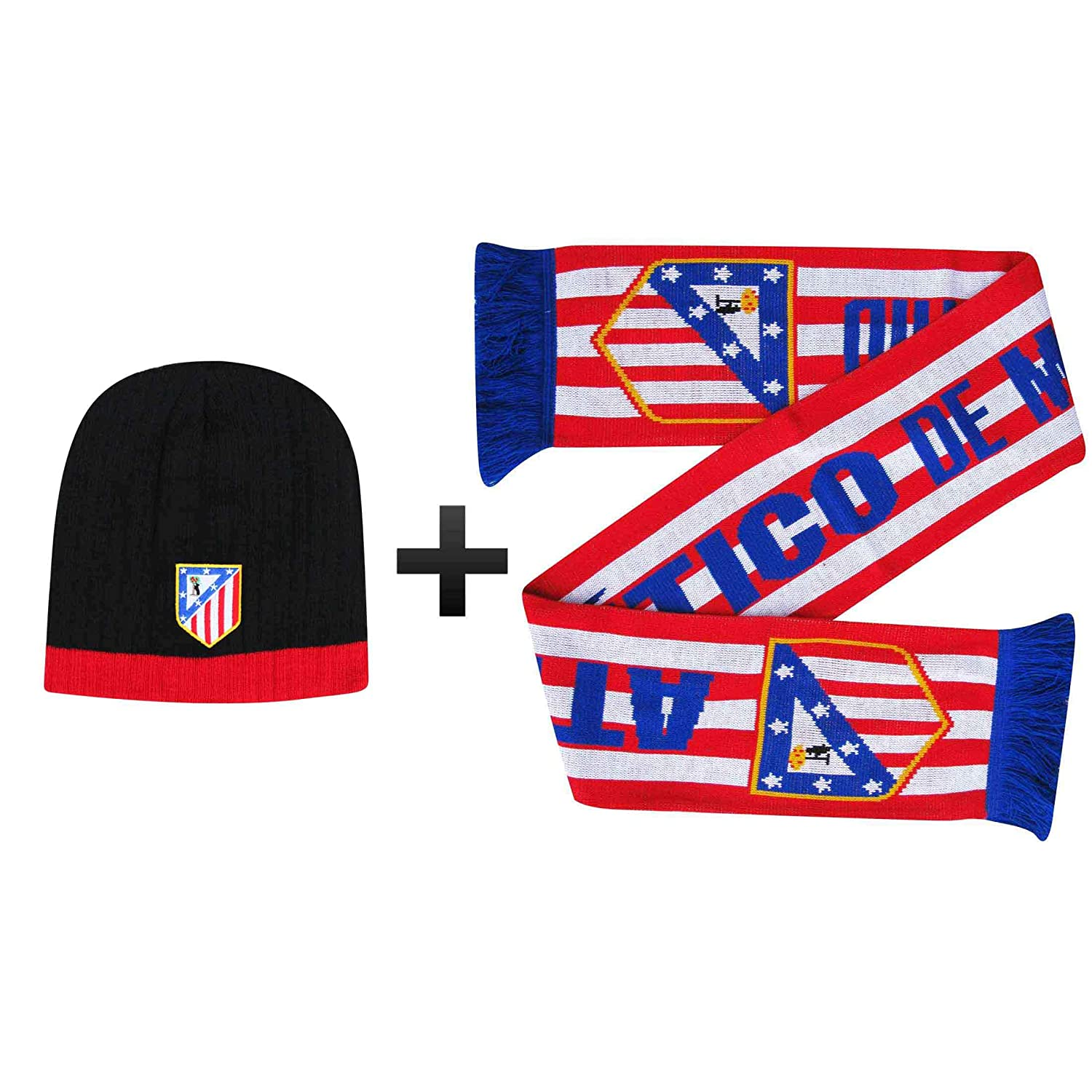 3f53252b382 Amazon.com   Atletico Madrid Soccer Crest Scarf   Beanie Hat Winter Warmers  Set   Sports   Outdoors