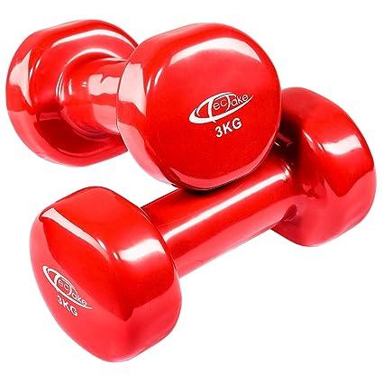 TecTake Conjunto de mancuernas de vinilo pesas aerobic | Superficie antideslizante | Varios modelos (3kg