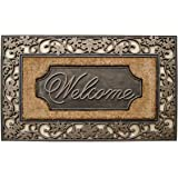 """A1 Home Collections A1HOME200029 A1HC Rubber & Coir Dirt Trapper Heavy Weight Large Welcome Doormat, 23"""" x 38"""", Floral Border"""