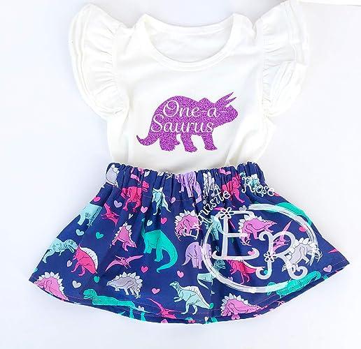 00e227957 Amazon.com: One a saurus girl 1st birthday outfit - Girl dinosaur outfit-  Long or short Sleeve: Handmade