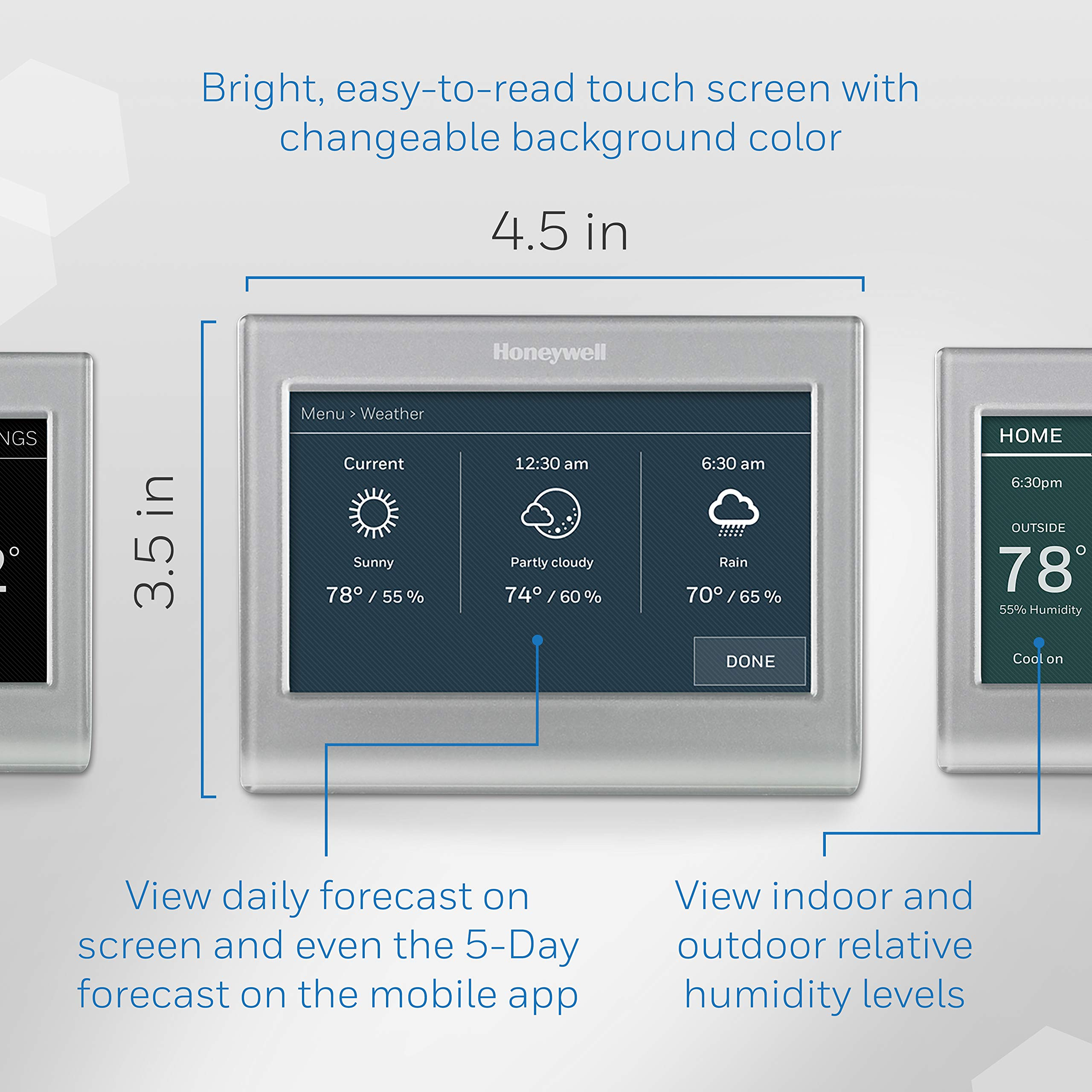 Honeywell Home Wi-Fi Smart Color Programmable Thermostat, Customizable Programming, Alexa and Apple Home Enabled, In-app Programming, Personalized Color Display, Easy Installation, (RTH9585WF1004) by Honeywell (Image #2)