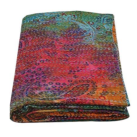 Janki Creation - Colcha de algodón teñida con Corbata, Hecha a ...