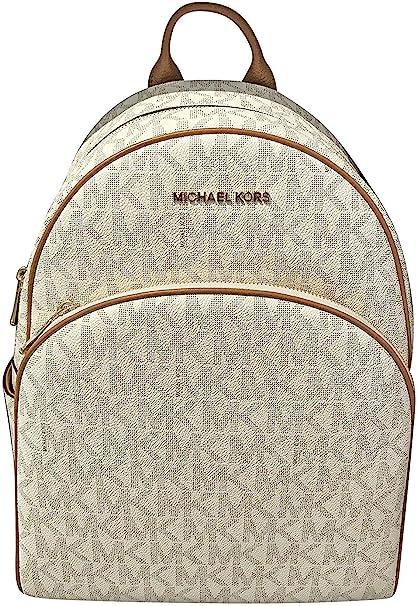 Michael Kors Abbey Large Logo Signature Mk VanillaAcorn Leather Backpack