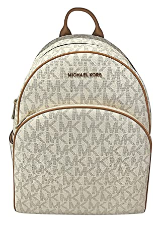 01dfaa4ba741 MICHAEL Michael Kors Abbey Jet Set Large Leather Backpack (Vanilla)